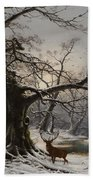 Stag In A Snow Covered Wooded Landscape Beach Towel