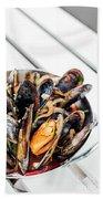 Stewed Fresh Mussels In Spicy Garlic Wine Seafood Sauce Beach Towel