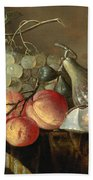Still Life With Fruit And Oysters On A Table Beach Towel