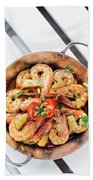 Stir Fry Prawns In Spicy Asian Pineapple And Herbs Sauce Beach Towel