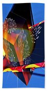 Street Light And Fireworks As Art Beach Towel