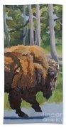Strutting Along, Yellowstone Beach Towel by Erin Fickert-Rowland
