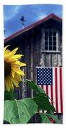 Sunflower By Barn Beach Towel