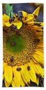 Sunflower Covered In Ladybugs Beach Sheet