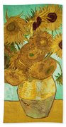 Sunflowers Beach Towel by Vincent Van Gogh