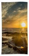 Sunset At Thor's Well Beach Towel