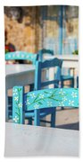 Tables In A Traditional Italian Restaurant In Sicily, Italy Beach Towel