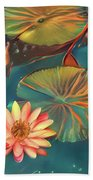 Teal Waterlilies 8 Beach Sheet