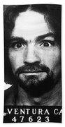 Charles Manson Mug Shot 1969 Vertical  Beach Towel