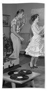 Teen Couple Dancing At Home, C.1950s Beach Towel