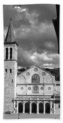 The Facade Of The Duomo With Mosaic And Eight Rose Windows And The Campanile Spoleto Umbria Italy Beach Towel