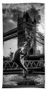 The Girl And The Dolphin - London Beach Towel
