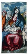 The Holy Family With Saint Anne And The Infant John The Baptist Beach Towel