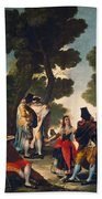 The Maja And The Cloaked Men, Or A Walk Through Andalusia Beach Towel