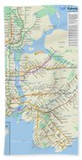 The New York City Pubway Map Beach Towel