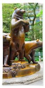 Three Bronze Sculpture Statue Of Bears Great Attraction At New York Ny Central Park By Navinjoshi Beach Towel