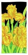 Three Yellow Irises, Painting Beach Towel