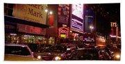 Times Square Night Beach Towel