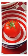 Tomato In Red And White Bowl Beach Towel