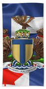 Toronto - Coat Of Arms Over City Of Toronto Flag  Beach Towel