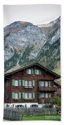 Traditional Swiss Alps Houses In Vals Village Alpine Switzerland Beach Towel