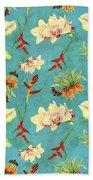 Tropical Island Floral Half Drop Pattern Beach Towel