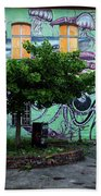 Underwater Graffiti On Studio At Metelkova City Autonomous Cultu Beach Towel