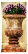 Urn With Purple Flowers Beach Towel