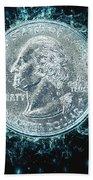 Us One Quarter Dollar Coin 25 Cents Beach Towel