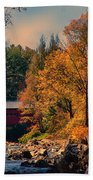 Vermont Covered Bridge Over The Dog River Beach Towel