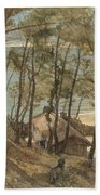 View From A Hill On A House On The Gulf Of Arcachon, August Allebe 1876 Beach Towel