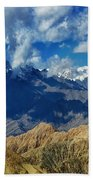 View Of Snow Peaks Leh Ladakh  Jammu And Kashmir India Beach Towel