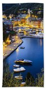 View Of The Harbour At Dusk  Portofino Beach Towel