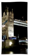 View Of The River Thames And Tower Bridge At Night Beach Towel