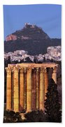 View Of The Temple Of Olympian Zeus And Mount Lycabettus In The  Beach Towel