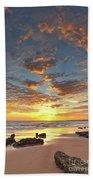 Gale Beach At Sunset. In Algarve Beach Sheet