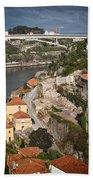Vila Nova De Gaia And Porto In Portugal Beach Towel