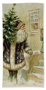 Vintage Christmas Card Beach Towel