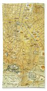 Vintage Map Of Athens Greece - 1894 Beach Towel