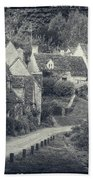 Vintage Photo Effect Medieval Arlington Row In Cotswolds Country Beach Towel
