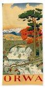 Vintage Poster - Norway Beach Towel