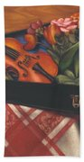 Violin Case And Flowers Beach Towel