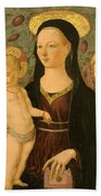 Virgin And Child With An Angel Beach Towel