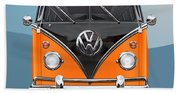 Volkswagen Type 2 - Black And Orange Volkswagen T 1 Samba Bus Over Blue Beach Towel