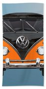 Volkswagen Type 2 - Black And Orange Volkswagen T 1 Samba Bus Over Blue Beach Towel by Serge Averbukh