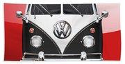 Volkswagen Type 2 - Black And White Volkswagen T 1 Samba Bus On Red  Beach Towel