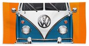 Volkswagen Type 2 - Blue And White Volkswagen T 1 Samba Bus Over Orange Canvas  Beach Towel