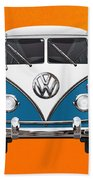 Volkswagen Type 2 - Blue And White Volkswagen T 1 Samba Bus Over Orange Canvas  Beach Towel by Serge Averbukh