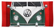 Volkswagen Type 2 - Green And White Volkswagen T 1 Samba Bus Over Red Canvas  Beach Towel