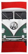Volkswagen Type 2 - Green And White Volkswagen T 1 Samba Bus Over Red Canvas  Beach Sheet